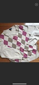 Tommy Hilfiger Womens Fall Argyle  Cardigan Sweater ~ Sz. XL~
