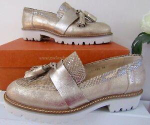 Designer Gadea Leather Metallic Gold Snakeskin Tassel Loafers 39 (6) RRP£145