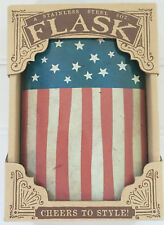 New listing Old Glory American Flag, Independence Day Flask 8oz Stainle Trixie & Milo New!
