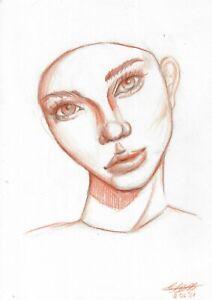original drawing A4 1ShX art samovar Colored Pencil female portrait Signed 2021