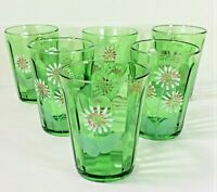 Beautiful Hand Painted Vintage Green Glass Set of 6 Juice, Milk, Drinks Perfect!