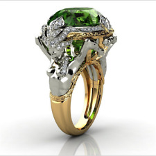 Luxury Silver Gold Two Tone Emerald Mermaid Ring Engagement Wedding Jewelry Gift