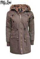 BRAVE SOUL LADIES LEOPARD TRIM FUR HOOD WARM WINTER PARKA COAT SIZE 8-16 ALPEN
