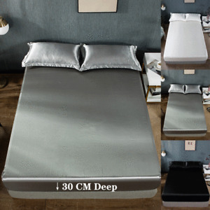 Extra Deep 30cm Silk Full Fitted Bed Sheet & Pillow Case Single Double King Size