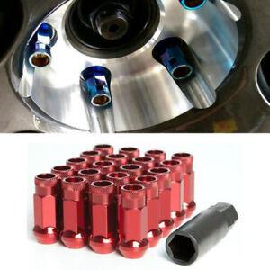 For Nissan Infiniti Subaru RED 12X1.25MM Wheel Rim Racing Lug Nuts QTY = 20 Key