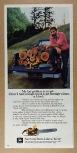 1980 John Deere 55V Chain Saw firewood photo vintage print Ad