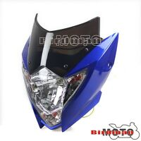 Universal Motorcycle Motorbike Streetfighter Style Headlight Faring Blue YZF R1