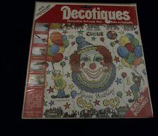 Decotiques #D-80 Circus N' Clowns Birthday Decorative  Artwork Heirloom Crafts