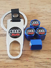 AUDI BLACK TOP BLUE DUST VALVE CAPS AND SPANNER LIMITED ALL MODELS BOXED TT R8