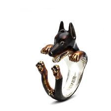 Dog Fever Sterling Silver Doberman Enamel Hug Ring