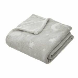 'Moon and Stars' Fleece Baby Blanket - Grey (125 x 150 cm) - Unpackaged