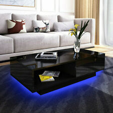 Modern LED Light Coffee Table with Drawer High Gloss Living Room Furniture Black