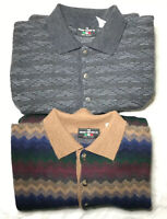Lot Of 2 The Italian Sweater Co Stripe Mens Sz Large Wool Coogi Cosby Style ECU