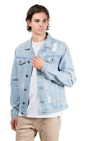 Brooklyn Surf Men's Distressed Four Pocket Blue Denim Jean Trucker Jacket, S-XXL