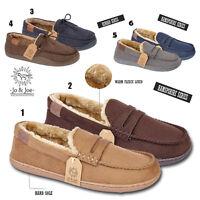 Mens Fleece Lined Moccasin Warm Winter Slip On Slippers Shoe Size 7 8 9 10 11 12