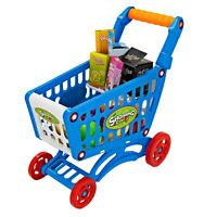 Toy Shopping Cart Toddler Supermarket Pretend Play Mini Grocery Wagon+ Play Food