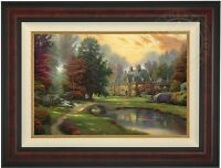 Thomas Kinkade Lakeside Manor 18 x 27 LE Gallery Proof Canvas (Burl Frame)