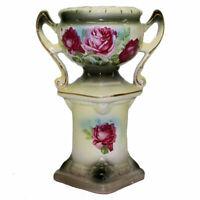 Antique Vintage Austrian Urn Style Pedestal Vase with Roses Porcelain