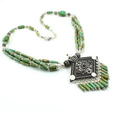 Necklace natural Tibetan turquoise antique gemstone handmade beaded jewellery