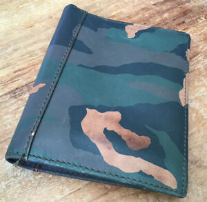 Genuine Fossil Leather Camo Army Camouflage Green Bifold Mens Large Wallet
