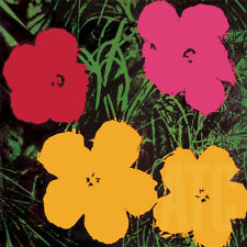 """36W""""x36H"""" FLOWERS, 1964 by ANDY WARHOL - RED PINK and 2 YELLOW POP ART CANVAS"""