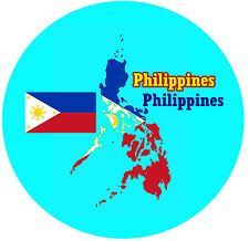 PHILIPPINES / FLAG / MAP - ROUND SOUVENIR NOVELTY FRIDGE MAGNET - NEW - GIFTS