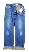 Gustin California Raw Straight Selvedge Button Fly Distressed Blue Jeans Size 35