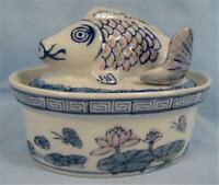 Oriental Fish Small Casserole Dish Porcelain Colors of Blue Pink and Green (O)