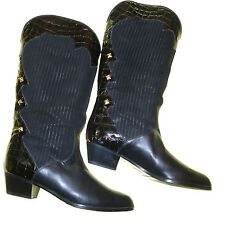 Italian Made Womens Cowboy Boots Black & Patent ALL Leather textured Suede