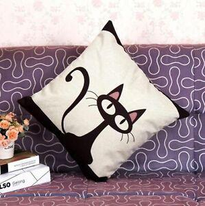 Black Cute Cat Pillow Cover Bedding Linen Cotton Pillowcase Home Sofa Slipcover