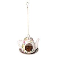 Esschert Modèle Jardin Arbre Porcelaine Jaune Rose Théière Oiseau Nourriture