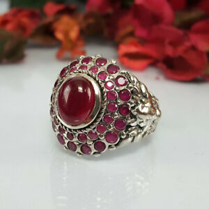 Natural Red Ruby Gemstone Ring 925 Silver Muti Gem Women Jewelry Anillos 8.5 US