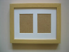 BEECH DOUBLE ACEO/SCHOOL PICTURE FRAME WITH 2 HOLES,WHITE MOUNT