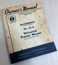 MCCORMICK 27-V TRACTOR MOWER BAR SICKLE SET-UP PARTS LIST OPERATORS OWNER MANUAL
