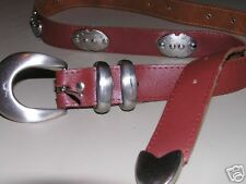 AXCESS Belt. sz 32 SILVER Buckle, tip & concho BROWN