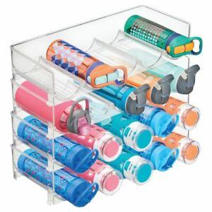 mDesign Water Bottle / Wine Rack Storage Organizer, 20 Bottles, 4 Pack - Clear