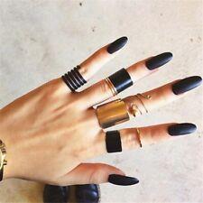 Punk Midi Finger loy Ring Set 3pcs/set Gothic Black Opening Rings for Women