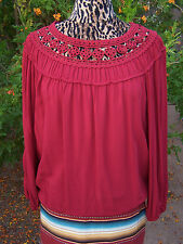 NWT~$88~Cute Maroon Crochet Peasant Gypsy Top Blouse~M~Boutique