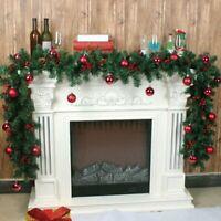 2.7M Artificial Christmas Wreath Green Garland Door Fireplace Xmas Tree Decor US