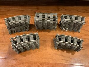 LOT OF 8 LEGO 9V TRAIN TRACK CURVE PIECES OLD GRAY COLOR