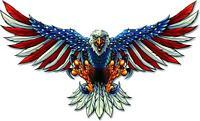 AMERICAN FLAG BALD EAGLE USA DECAL STICKER TRUCK VEHICLE WINDOW 6yr ae1