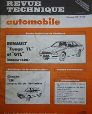 Revue technique RENAULT FUEGO TL GTL 1400 cm3 R 1360 RTA 406 1980 + CITROEN LN