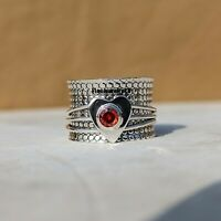 Garnet Ring 925 Sterling Silver Spinner Ring Meditation Statement Jewelry A396
