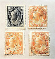 CANADA LOT OF 4 QUEEN VICTORIA 1897-98 STAMPS 1/2 & 8 ¢ - USED - SC# 66 72 [185]