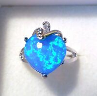 """GORGEOUS BLUE FIRE OPAL  RING UK Size """"P"""" US 8"""