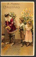 CHRISTMAS HOLIDAY SANTA CLAUS TREE HTL HOLD TO LIGHT NOVELTY POSTCARD 1908 **