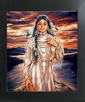 Native American Indian Maiden Girl Sunset Wall Decor Art Print Framed Picture