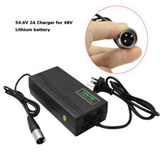 54.6V 2A Power Charger Adapter 3 Pins Head for 48V Li-on Lithium E-bike Battery