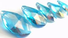 5 Iridescent Aqua Turquoise 38mm Teardrops AB Chandelier Crystals Prisms
