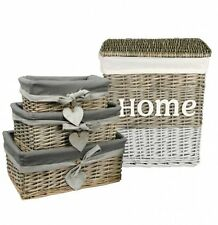 Vintage Shabby Chic Heart Home Laundry Bin With Lid Hamper Basket Set